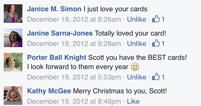 Holiday card comments. So why did we stop mailing cards